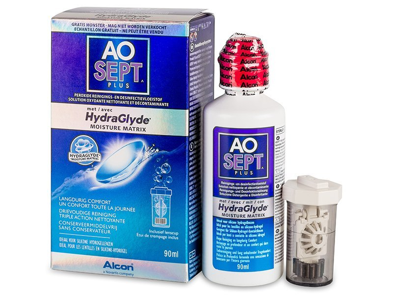 Image of   AO SEPT PLUS HydraGlyde 90 ml Linsevæske