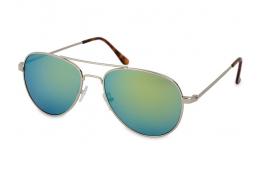 Silver Aviator solbriller – Blå/Grøn  - Rich Fashion